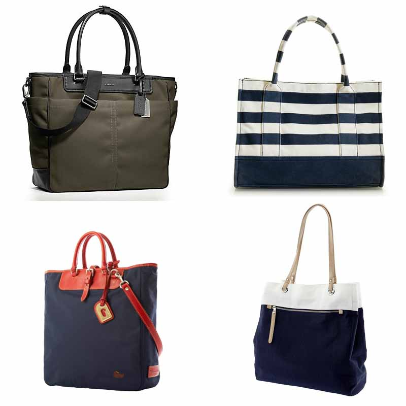 Striped Tote Navy Blue Beach Travel Bags
